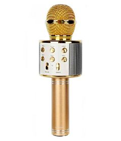 Microfon Karaoke Wireless cu Bluetooth, Soundvox WS-858 cu Boxa inclusa, Auriu