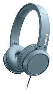 Casti audio On-ear Philips TAH4105BL, cu fir, microfon, Albastru
