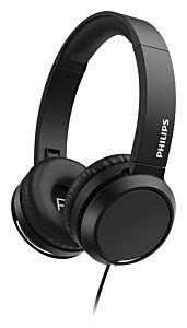 Casti audio On-ear Philips TAH4105BK, cu fir, microfon, Negru