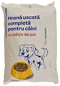 Hrana uscata pentru caini cu pui Carrefour 3 kg