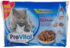 Vital Pack Hrana completa pentru pisici adulte pui si vita PreVital 4x100g