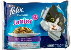 Mancare pentru pisici junior fantastic cu pui, somon Felix 4 x 100 g