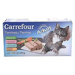 Pateu pentru pisici cu cod, vita si miel Carrefour 4x100g