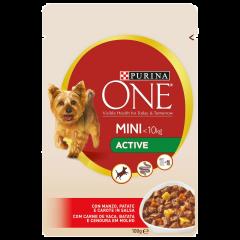 Hrana umeda cu vita si cartofi pentru caini adulti de talie mica Purina One Mini Activ 100g