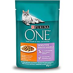 Hrana umeda pentru pisici cu pui si morcov Purina One Sensitive 85g