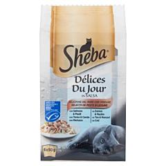 Hrana umeda completa pentru pisici adulte Delices Du Jour Sheba, selectii de peste si legume, 6 x 50 g