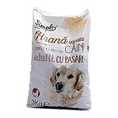 Hrana uscata completa pentru caini adulti, cu pasare, Simpl, 3 kg