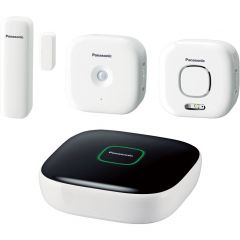 Kit Home Safety Starter Plus KX-HN6011FXW Panasonic, Securitate casa, Wireless/Cu fir, Android si iOS, 300m raza de actiune, Alb