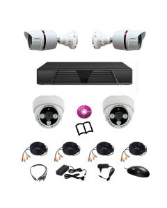 Sistem de supraveghere DVR, TECH AD, mixt cu 4 camere HD 720P cu infrarosu