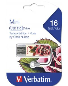 Verbatim Usb 2.0 Store N Go Mini Usb Drive 16Gb Tattoo  Rose