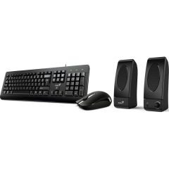 Kit Tastatura + Mouse optic + Boxe KMS U130 Genius, Cu fir, Negru