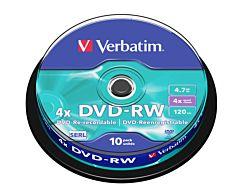 DVD-RW Verbatim, 4.7 GB, 4x, 10 bucati/ bulk