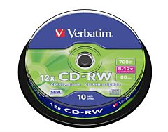 CD-RW Verbatim, 4.7 GB, 12x, 10 bucati/ bulk