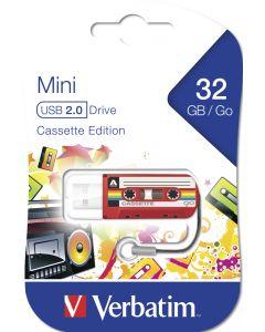 Verbatim Mini Usb Drive Cassette Edition Red 32Gb