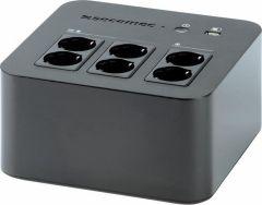 UPS 600VA Socomec, Voltaj nominal input 180-270V, Conectori Schuko, 1xUSB, Capacitate putere 360W/600VA, Negru