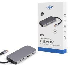 Adaptor multiport PNI MP07 USB-C la HDMI, 2 x USB 3.0, RJ45, SD/TF, USB-C PD, 7 iesiri