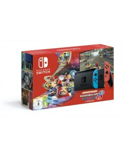 Nintendo Switch Console (With Neon Red & Neon Blue Joy-Cons) Had & Mario Kart 8 Deluxe - Gdg
