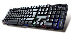 Tastatura Gaming Omega VARR VRGBK7023B, 3 moduri de iluminare RGB, 140 cm cablu USB, 104 taste, Negru