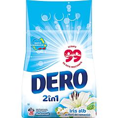 Detergent automat pudra, Dero 2in1 Iris alb si flori de romanita, 20 spalari, 2 kg