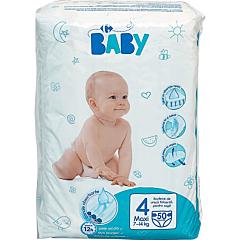 Scutece de unica folosinta Carrefour Baby, no.4, 7-18kg, 50 bucati