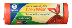 Saci funny bunny Epack, 60l, 15 buc/rola