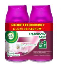 Rezerva odorizant automatic Air Wick Freshmatic Satin & Moon Lily, 2x250 ml