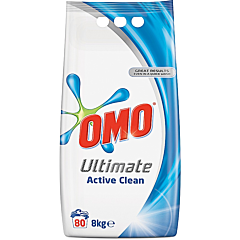 Detergent automat pudra, Omo Ultimate Active Clean, 80 spalari, 8kg