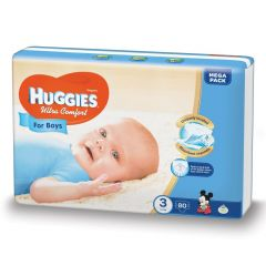 Scutece Huggies Ultra Comfort, nr 3, 5-9 kg,  Mega, 80 buc, pentru baieti