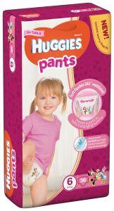 Scutece chilotel Huggies Pants, nr 6, 15-25 kg, Mega, 36 buc, pentru fetite