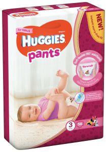 Scutece chilotel Huggies Pants, nr 3, 6-11 kg, Mega, 58 buc, pentru fetite