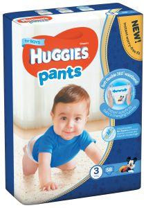 Scutece chilotel Huggies Pants, nr 3, 6-11 kg, Mega, 58 buc, pentru baieti