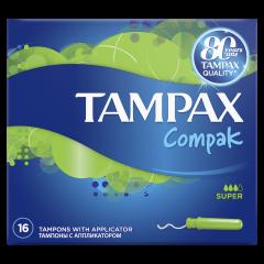 Tampoane Tampax Compak Super cu aplicator, 16 buc