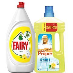 Pachet detergent suprafete Mr. Proper 1l + detergent de vase Fairy Lemon 1.3l