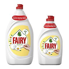 Pachet Detergent de vase Fairy Sensitive Chamomile & Vitamin E, 1.3l + Detergent de vase Fairy Sensitive Chamomile & Vitamin E, 450ml