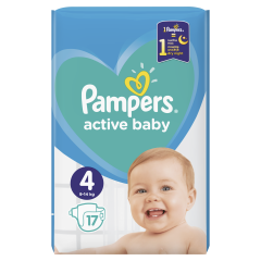 Scutece Pampers Active Baby, Marime 4, 9-14 kg, 17 buc