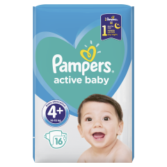 Scutece Pampers Active Baby, Marime 4+, 10-15 kg, 16 buc