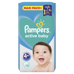 Scutece Pampers Active Baby Maxi Pack, Marime 4+, 10-15 kg, 58 buc