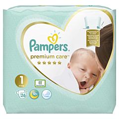 Scutece Pampers Premium Care, Marime 1, 2-5 kg, 26 buc