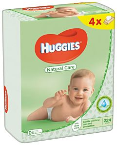 Servetele umede Huggies Natural Care Quad, 4 x 56 buc