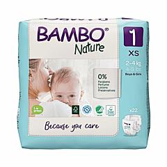 Scutece ecologice pentru bebelusi, Bambo Nature, marimea 1, 2-4 kg, 22 bucati