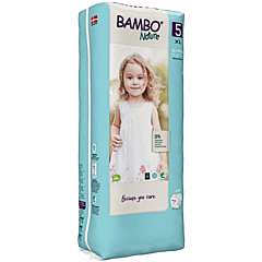 Scutece ecologice pentru bebelusi, Bambo Nature, marimea 5, 12-18 kg, 44 bucati