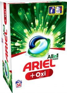 Detergent automat capsule Ariel PODS Plus Oxi Efect, 54 spalari, 54 buc.