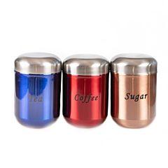 Set 2 recipiente din inox pentru depozitare ceai/cafea,/zahar, 9 x 1 4 cm / 700 ml