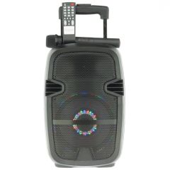Boxa Activa Portabila Tip Troller Soundvox W-07, Radio FM, Bluetooth, USB, TF Card, Aux, Lumini LED, Microfon Inclus, Telecomanda, Neagra