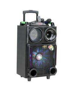 "Boxa Activa Portabila Troller 12"", Soundvox MT-1705, cu 2 x Microfoane, 150 W, Functie REC, Bluetooth, Display, Fm, Usb, Sd, Aux, Lumini, Telecomanda, Negru"