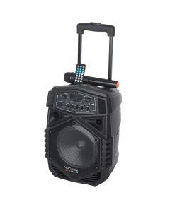 "Boxa Activa Portabila Troller 8"", Soundvox P-805 cu Microfon, Bluetooth, Display, Fm, Usb, Sd, Aux, Lumini, Telecomanda, Negru"
