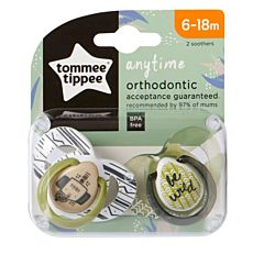 Suzeta Ortodontica Anytime , Tommee Tippee, 2buc, 6-18 luni, Elefantel