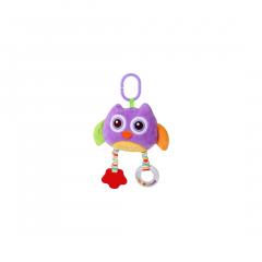 Jucarie zornaitoare din plus, Owl, 29,5 cm, cu oglinda, Purple, Lorelli