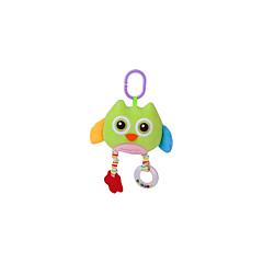Jucarie zornaitoare din plus, Owl, 29,5 cm, cu oglinda, Green, Lorelli