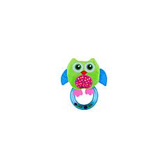 Jucarie zornaitoare din plus, Owl, 18,5 cm, cu inel, Green, Lorelli